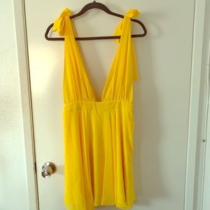 Forever21 Plunging Self-Tie Chiffon Dress L